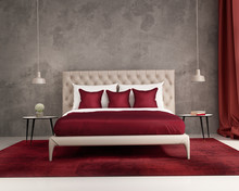 Contemporary Elegant Luxury Deep Red And Grey Bedroom