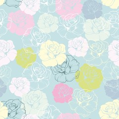 Vector tile rose flower pattern or pastel wallpaper background
