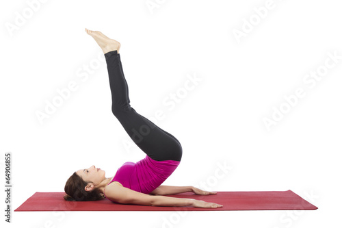 A woman doing reverse crunch
