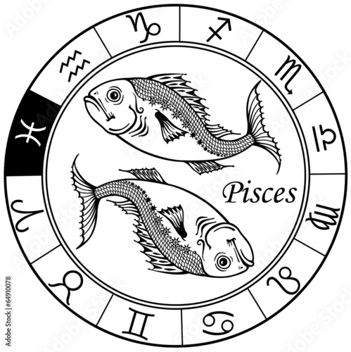 pisces zodiac black white Tapéta, Fotótapéta
