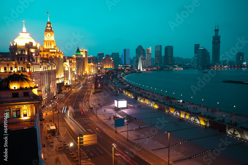 Photo  Bird view at Shanghai Bund European-style buildings of night