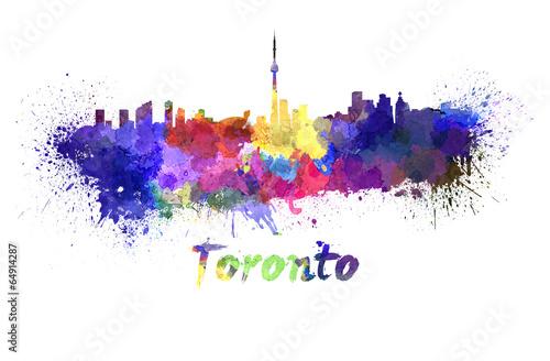 Obrazy Toronto  toronto-skyline-in-watercolor