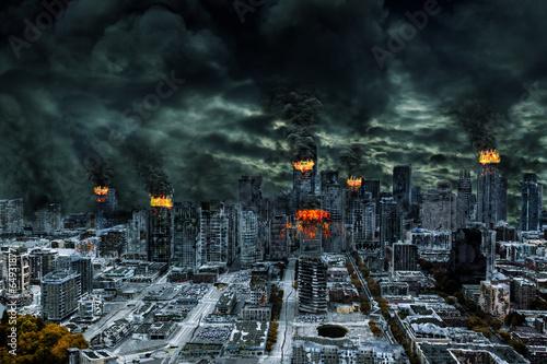 Cinematic Portrayal of Destroyed City With Copy Space Tapéta, Fotótapéta