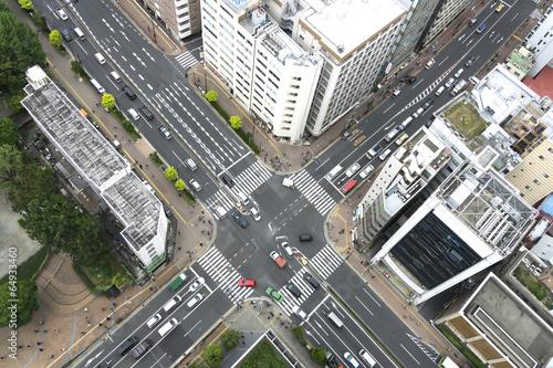 大都会の交差点イメージ(俯瞰撮影) Fotobehang