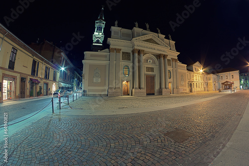 alessandria church at christmas night Canvas Print
