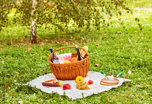 Keuken foto achterwand Picknick picnic on the grass in nature