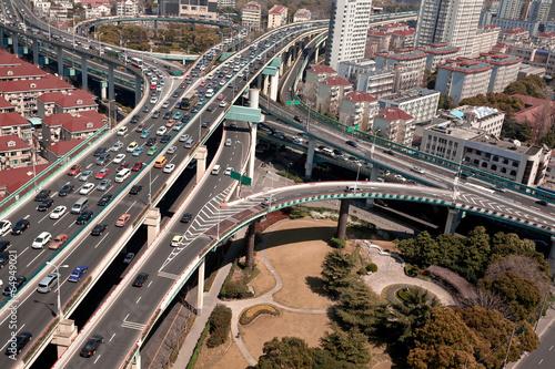 Bird view at city viaduct bridge of shanghai Poster