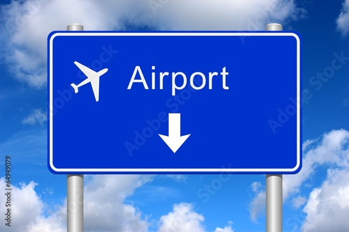 Panel direction airport with summer sky Canvas Print