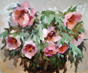 FototapetaOil painting of the beautiful flowers.