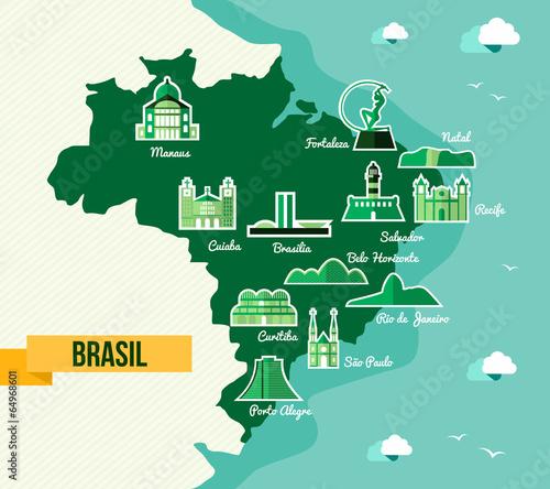Fotografie, Obraz Landmark Brazil map silhouette icon