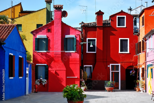 Canvas Print Venice, Burano island, colorful houses, Italy