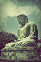 The Great Buddha (Daibutsu) At  Kotokuin Temple In Kamakura, Jap