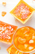 Tasty fruit jelly with slices orange
