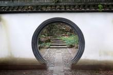 Chinese Rounded Doorway, Beishan Hill, Hangzhou, China