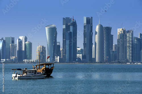 Modern city in Doha Canvas Print