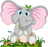 cute elephant cartoon sitting in garden