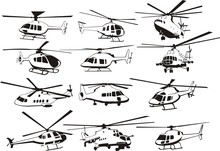 Helicopters Outline Set
