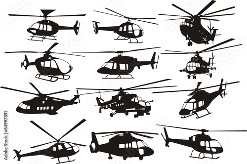 Canvas-taulu helicoptersilhouettes set