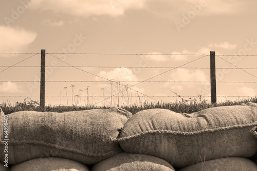 Fototapeta Trenches of death world war one sandbags in Belgium