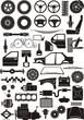 car parts silhouette set