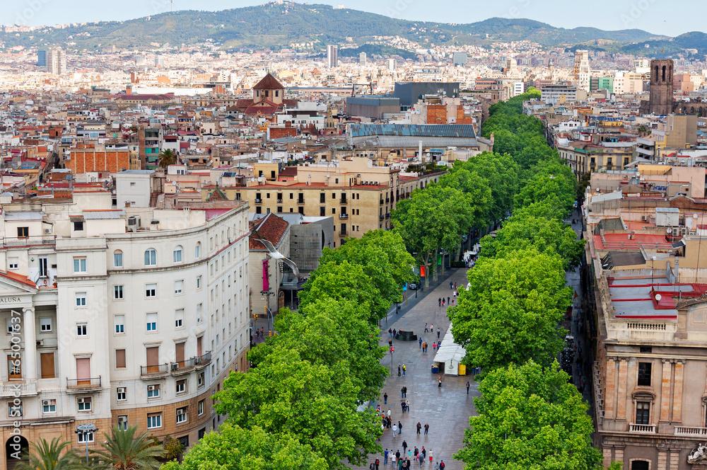 Photo  Las Ramblas of Barcelona, Aerial view