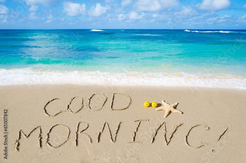 "Fotografie, Obraz  Sign ""Good morning"" on the beach"