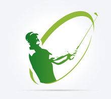 Green Golf Icons Silhouette Isolated On White, Vector