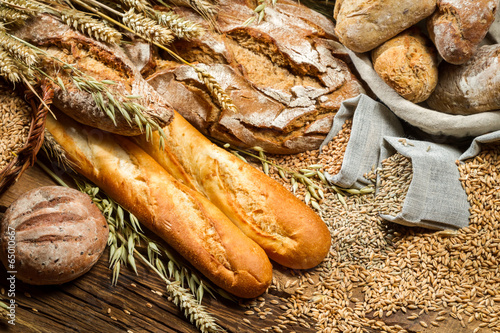 Fototapety, obrazy: Various types of bread in a baker pantry