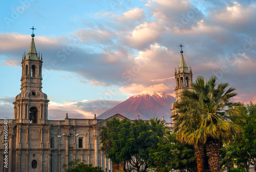 Volcano El Misti overlooks the city Arequipa in southern Peru Canvas Print