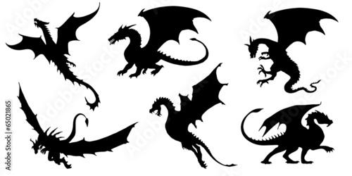 Fotografie, Tablou  dragon silhouettes