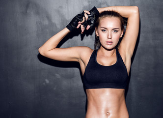 Naklejka young fitness woman