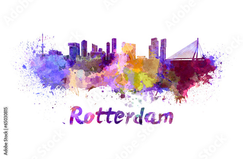 Deurstickers Rotterdam Rotterdam skyline in watercolor