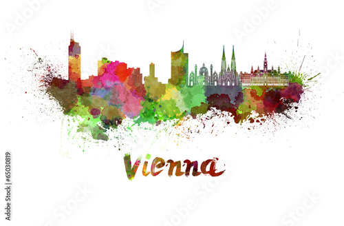 Vienna skyline in watercolor Poster