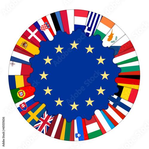 Fotografia  EU Jigsaw (member states flags 28 France Germany UK)