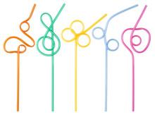 Colorful Curly Drinking Straws