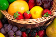 Variety of fresh fruits in wicker basket