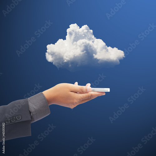 Fototapety, obrazy: Hand holding phone with clouds