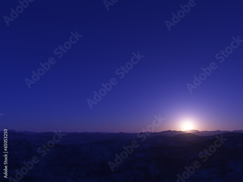 Tuinposter Violet Alien Planet. Landscape with bright star.