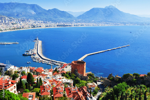 View of Alanya harbor from Alanya peninsula. Turkish Riviera Canvas Print