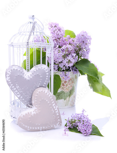 Beautiful decoration with bouquet of flowers and hearts