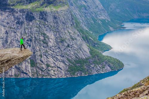 Norway Mountain Trolltunga Odda Fjord Norge Hiking Trail Poster