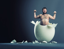 Egg With Man Inside Isolated O...