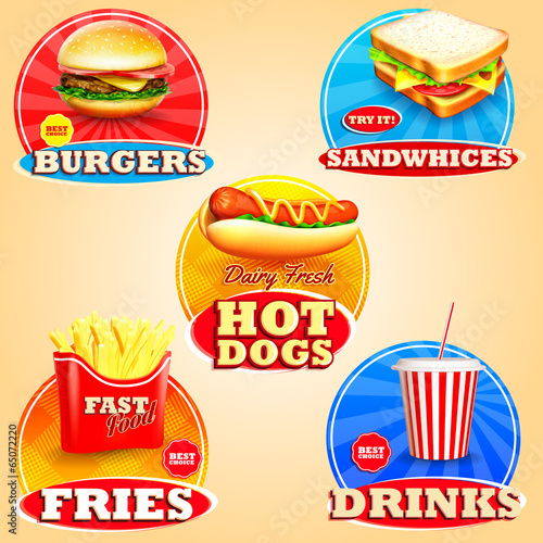 stickers for fast food Poster