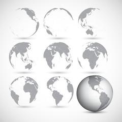 Fototapeta Set of globe icons vector illustration