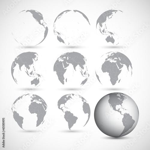 Fotografie, Obraz  Set of globe icons vector illustration