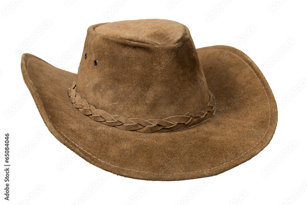 91117c0f09321 Photo   Art Print Brown cowboy leather hat isolated over white with  clipping path.