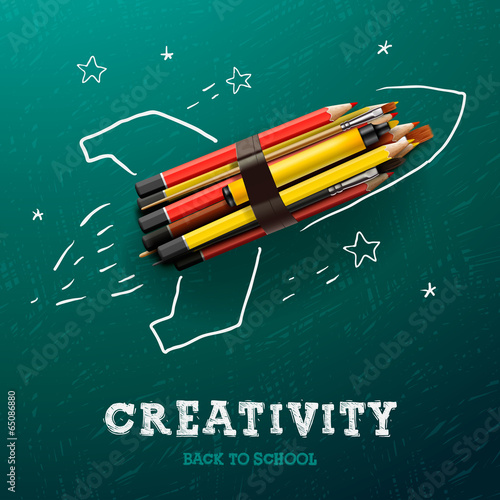 Creativity learning. Rocket ship launch with pencils Poster