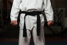 Man Wearing A Black Belt
