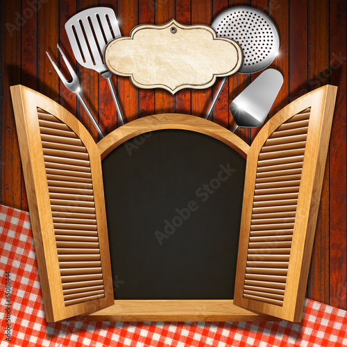 Restaurant Menu on Wooden Window