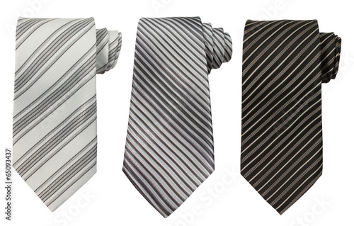Photographie Set of three ties isolated on white